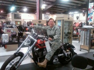 Combat cougar on a Harley